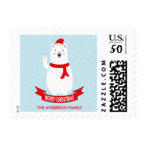 Cute Christmas Polar Bear Customizable Postage