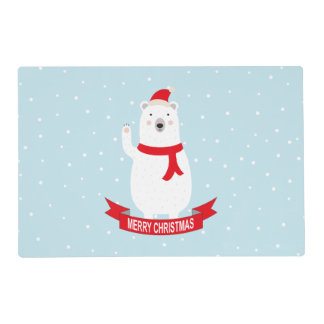 Cute Christmas Polar Bear Placemat
