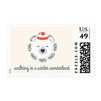 Cute Christmas Polar Bear Postage Stamps