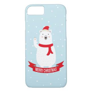 Cute Christmas Polar Bear says Hello iPhone 7 Case