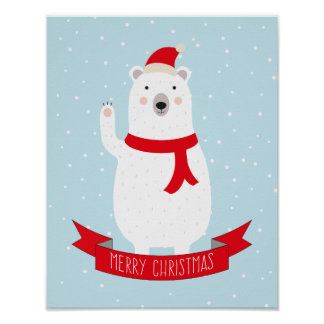 Cute Christmas Polar Bear says Hello Poster