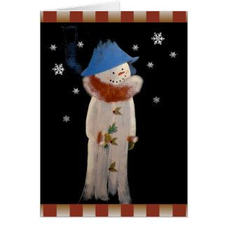 Cute Christmas Primitive Girl Snowman Card