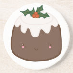 Cute Christmas Pudding Beverage Coasters