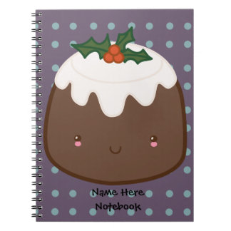 Cute Christmas Pudding Spiral Notebook