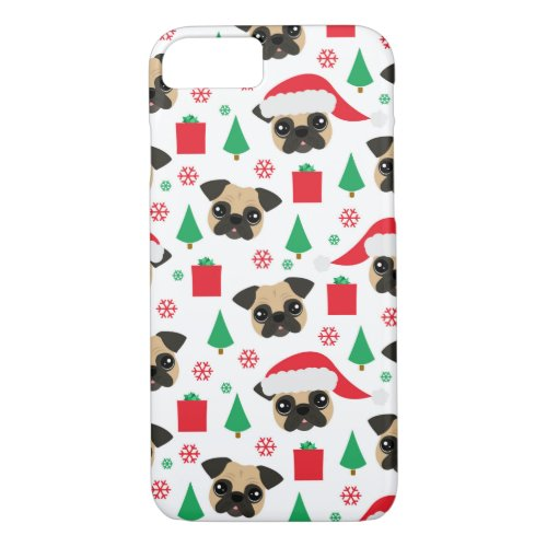 Cute Christmas Pug iPhone 87 Case