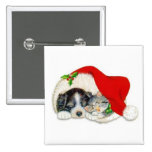 Cute Christmas Puppy and Kitten in Santa Hats Buttons