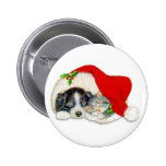 Cute Christmas Puppy and Kitten in Santa Hats Pin