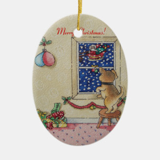cute christmas puppy and santa art Ornament