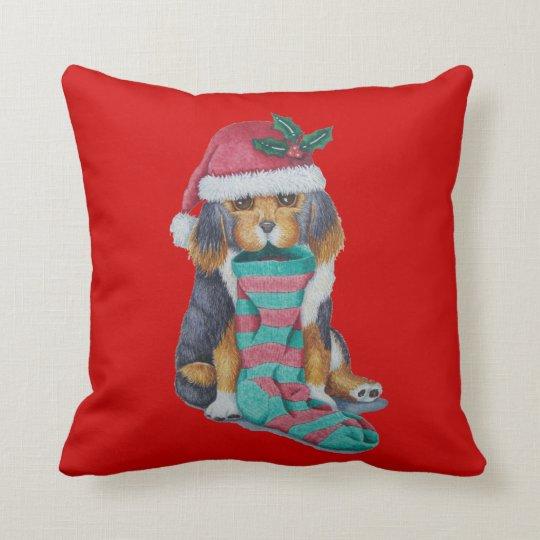 cute christmas puppy dog illustration art cushion