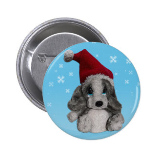 Cute Christmas Puppy In Santa Hat Badge Name Tag Pinback Buttons