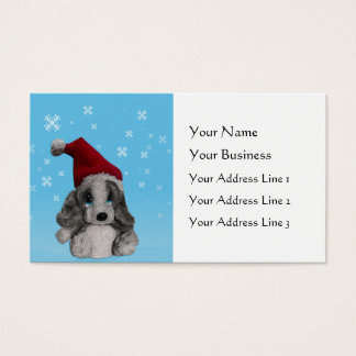 Cute Christmas Puppy In Santa Hat Bookmarks or Business Card