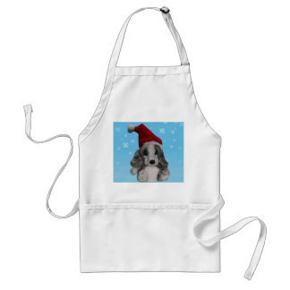 Cute Christmas Puppy In Santa Hat Crafts Cook Chef Adult Apron