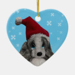 Cute Christmas Puppy In Santa Hat Christmas Ornaments