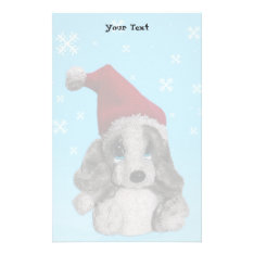 Cute Christmas Puppy In Santa Hat Writing Paper at Zazzle