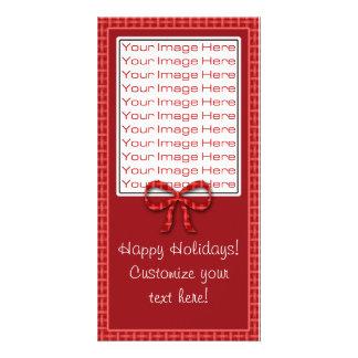 Cute Christmas Red Plaid Photo Card Template