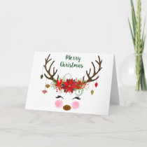 Cute Christmas Reindeer and Poinsettia Card