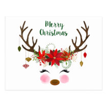 Cute Christmas Reindeer and Poinsettia Postcard