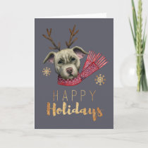Cute Christmas Reindeer Dog | Happy Holidays Holiday Card