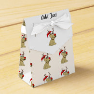Cute Christmas Reindeer Dog with Antlers Party Favor Box