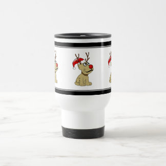 Cute Christmas Reindeer Dog with Antlers Coffee Mugs