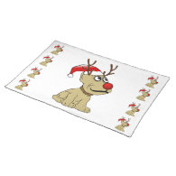 Cute Christmas Reindeer Dog with Antlers Placemats
