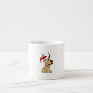 Cute Christmas Reindeer Dog with Antlers Espresso Cup