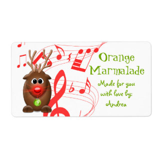 Cute Christmas Reindeer Gift Tag Sticker Shipping Labels