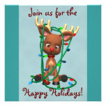 Cute Christmas Reindeer Holiday Invitations