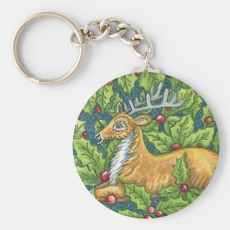 Cute Christmas Reindeer in Forest with Holly Keychain