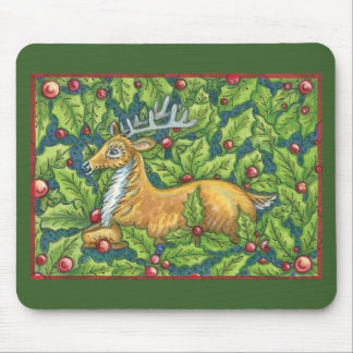 Cute Christmas Reindeer in Forest with Holly Mouse Pad