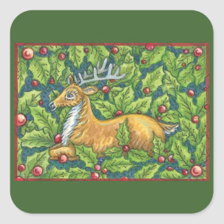 Cute Christmas Reindeer in Forest with Holly Square Sticker