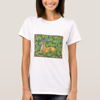 Cute Christmas Reindeer in Forest with Holly T-Shirt
