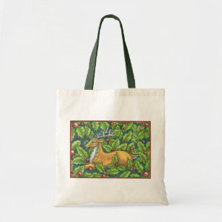 Cute Christmas Reindeer in Forest with Holly Tote Bag