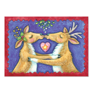 Cute Christmas Reindeer Kissing Under Mistletoe 5x7 Paper Invitation Card