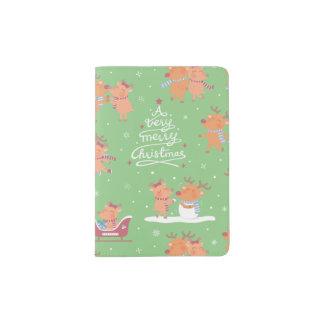 Cute Christmas Reindeer Pattern Passport Cover