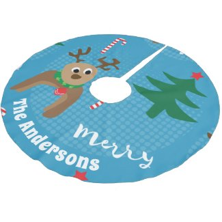 Cute Christmas Reindeer Personalized Holiday Brushed Polyester Tree Skirt