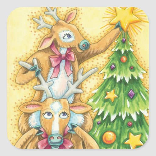 Cute Christmas Reindeer Putting a Star on a Tree Square Sticker