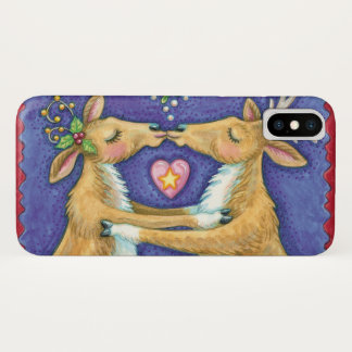 Cute Christmas Reindeer, Romantic Kiss w Mistletoe iPhone X Case