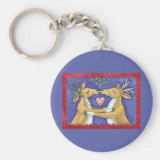 Cute Christmas Reindeer, Romantic Kiss w Mistletoe Keychain