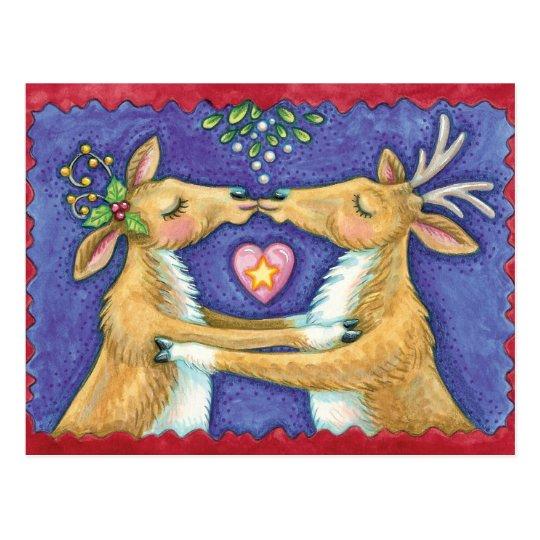 Cute Christmas Reindeer, Romantic Kiss w Mistletoe Postcard
