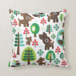 Cute christmas reindeer tree pattern for kids pillow