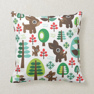 Cute christmas reindeer tree pattern for kids throw pillow