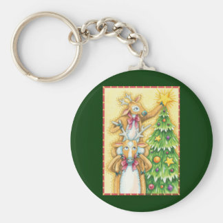 Cute Christmas Reindeer With Christmas Tree Star Keychain