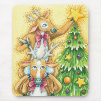 Cute Christmas Reindeer With Christmas Tree Star Mouse Pad