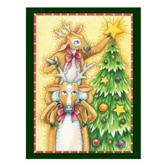 Cute Christmas Reindeer With Christmas Tree Star Postcard