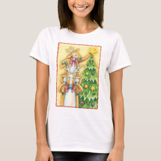 Cute Christmas Reindeer With Christmas Tree Star T-Shirt