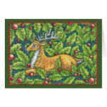 Cute Christmas Reindeer with Holly Greeting Card
