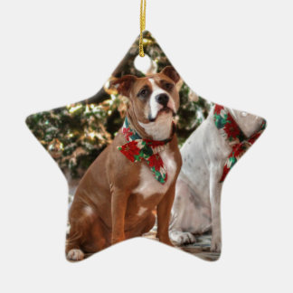 Cute Christmas Rescue Pitbull and America Bull Dog Ceramic Ornament
