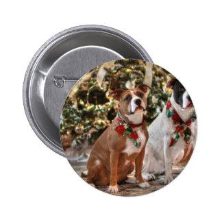 Cute Christmas Rescue Pitbull and America Bull Dog Pinback Button