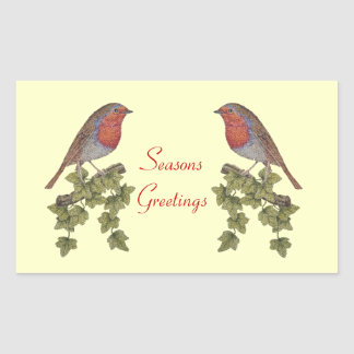 Cute Christmas Robin and ivy leaves illustration Stickers